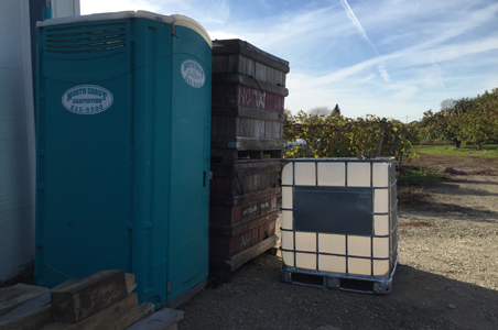 Westgate Farm in North East PA uses North Coast Sanitation portable toilet facilities for their fruit stand customers and their seasonal farm laborers.  As you can see, it is conveniently placed between their orchards and their fruit stand building.