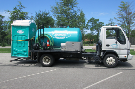 North Coast Sanitation's flushable portable toilets being delivered and set up for a special event in Millcreek, PA.