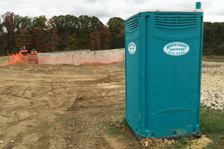 This construction site rented portable toilet units from North Coast Sanitation for most of the year while this commercial building was under construction.
