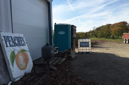 West Gate Farms in North East, PA used this portable toilet for their farm stand customers and seasonal farm laborers.