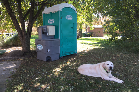 This customer rented a portable toilet and sink for their family reunion.  It kept her carpets and house clean and kept the mess outside.