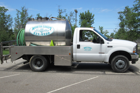 Our water truck makes it possible for North Coast Sanitation to replenish water to our flushable units and portable hand washing sinks.